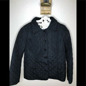 J Jill Black Quilted Button Puffer Jacket Blk S
